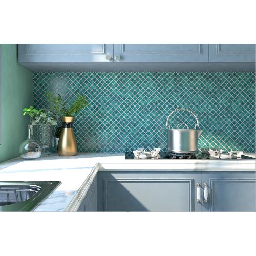 Malachite Green Glass Mosaic Tiles For Kitchen Backsplash