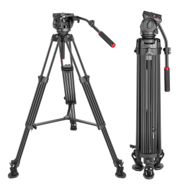 Neewer Heavy Duty Video Tripod Aluminum Alloy with 360 Degree Fluid Drag Head Quick Shoe Plate for DSLR Cameras Video Camcorders