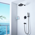 HIDEEP Wall Mounted Black Bathroom Shower Faucet Set