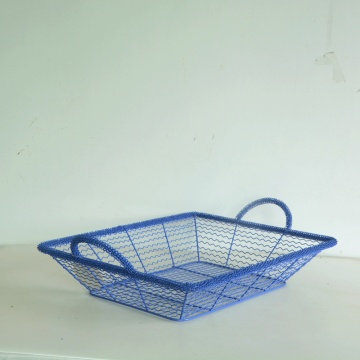 Blue rectangular wire storage basket