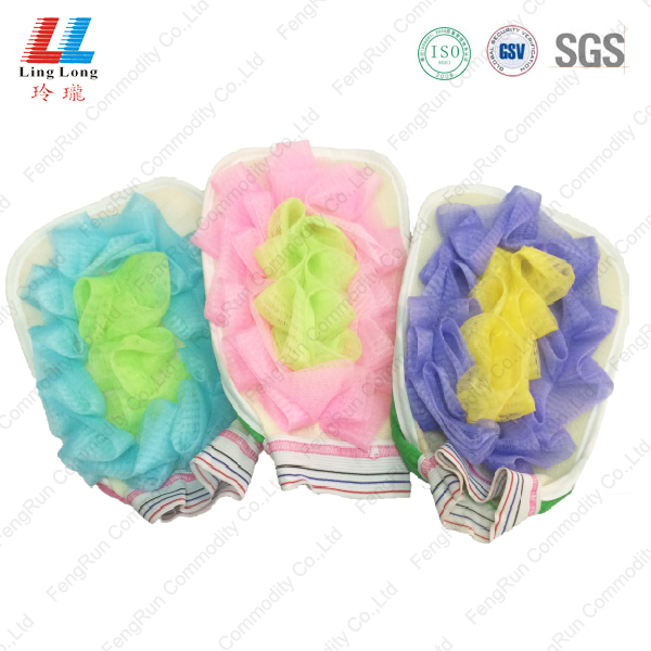 Swanky mesh sponge gloves cleaning item