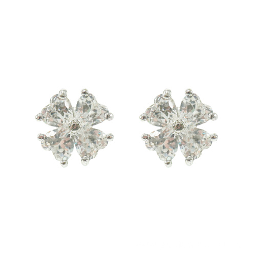 Four Leaf Clover Cubic Zirconia Stud Earrings