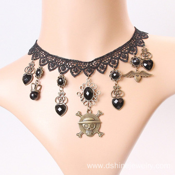 Black Lace Necklace With The Skull Pendant Tassel Choker
