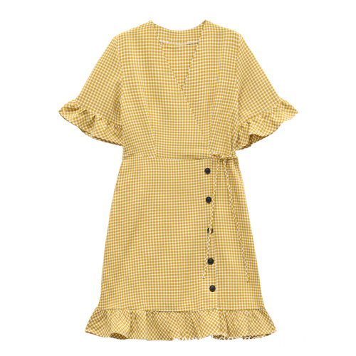 New Design Women Fashion Button Plaid Dress