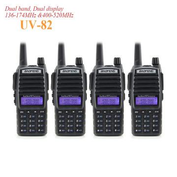 4PCS BaoFeng UV-82 Dual PTT Walkie Talkie Dual Band VHF UHF 136-174MHZ 400-520MHZ 8W Ham Radio Baofeng 82 UV82 PTT Radio Amateur