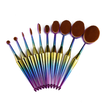 10 Piece Colorful Oval Makeup Brush Set