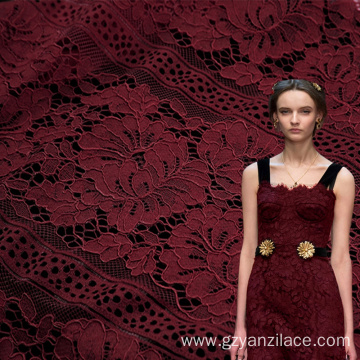 Cotton Red Floral Chantilly Lace
