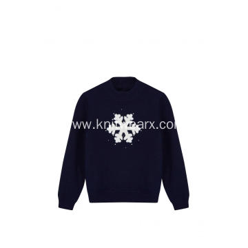 Girl's Knitted Snowflake Jacquard and Beads Pullover