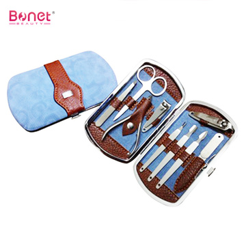 Stainless steel pedicure tools set with leather case