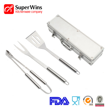 Stainless steel classical 3-piece BBQ  tools set