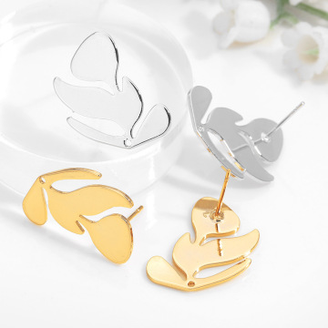 6PCS Tree Leaf 21x17MM 24K Gold Color Brass Tree Leaf Leaves Stud Earrings High Quality Diy Accessories Jewelry Findings