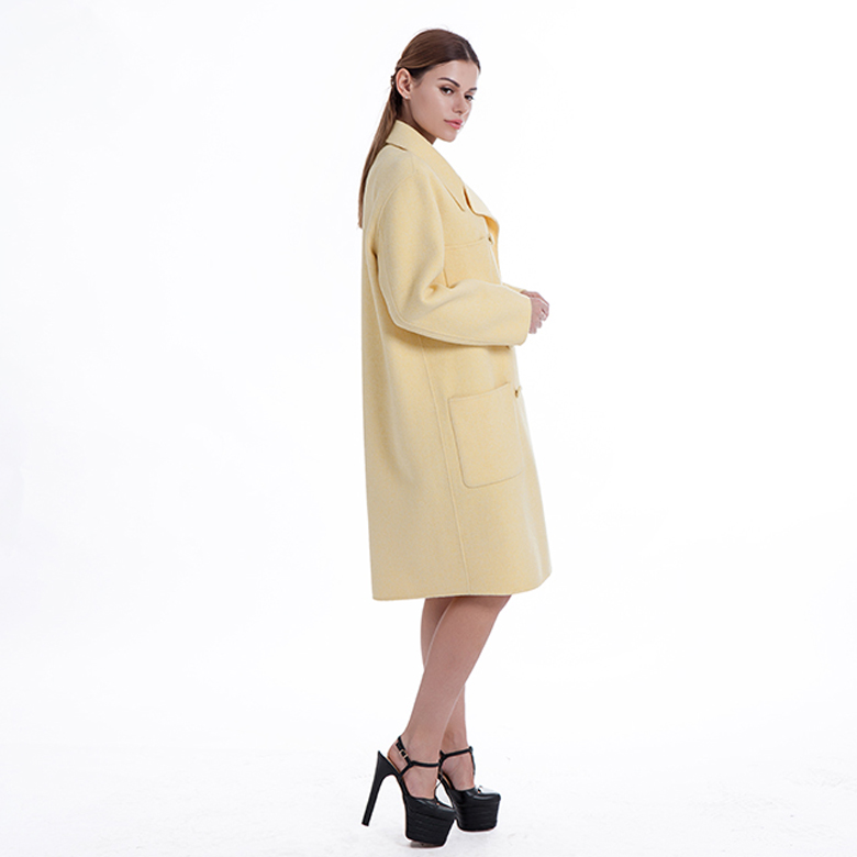 Classic Yellow Cashmere Blended Overcoat
