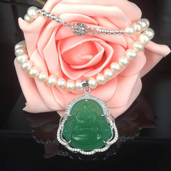Jade Pendant Real Pearl Necklace Jewelry