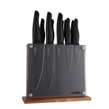 Black Knife Set with Magnetic Wood Block
