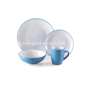 16 Piece Stoneware Two Tone Color Dinner Set Blue