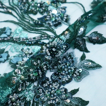 I-Green Green Sequins Floral Embroidery