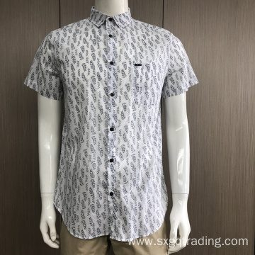 Male 100% cotton print short sleeve shirt