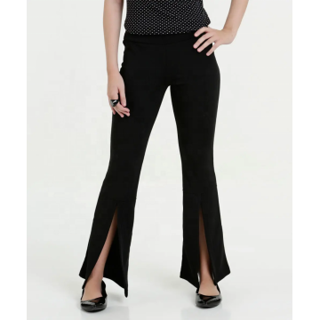 Women's irregular leg hem opening slim trousers