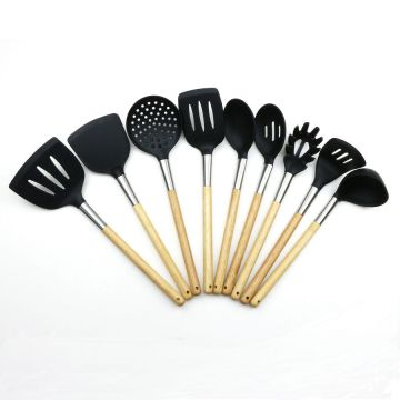 9PCS Beech Wood Handle Silicone Utensil Set