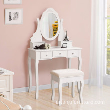 Bedroom 5 Drawers Makeup Desk Sets White Wooden Dressing Table with Oval Mirror and Stool