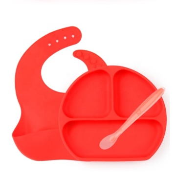 3 Pieces Silicone Baby Tableware Feeding Set