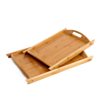 Rectangle Bamboo Serving Tray With Cut Out Handles Home Basics organizer