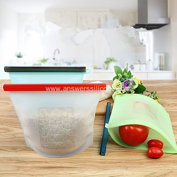 Food grade reusable silicone lunch storage bag