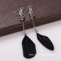 Skull Charm Feather Earrings Long Chain Designer Earrings