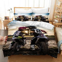 Fanaijia Motorcycle Bedding Sets Double Size Luxury Kids Duvet Cover Set with Pillowcase Motocross Bed Sets Bed Comforter