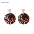 Rose Gold Black Round Cute Flower Dangle Earrings