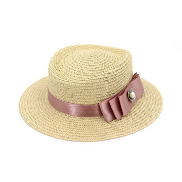 Pink silk ribbon bowknot straw hat