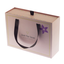 Custom Rigid Drawer Gift Paper Box With Ribbon