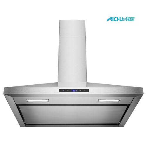 wall mount range hood in brushed stainless steel