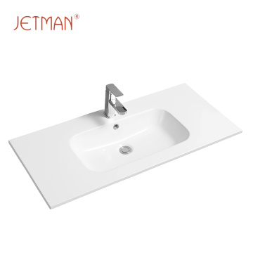Modern thin square ceramic counter top bathroom sink wash basin