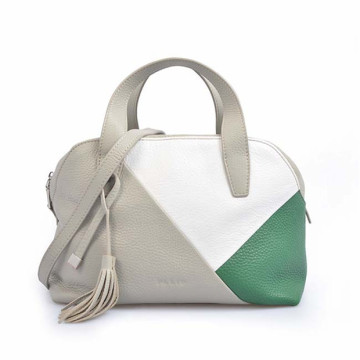 Felt White Genuine Leather Mammy Tote Bag