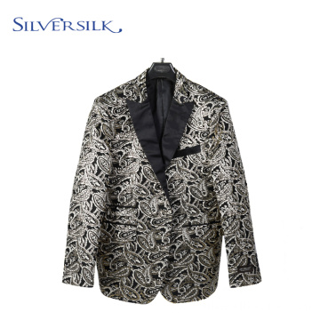 Embroider Pattern Sparkly Floral Single Breasted Suit Men