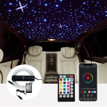 Car Starry Sky Projection Lamp Set 12V 6W RGB LED Fiber Optic Light Roof Star Lights RF Remote Control Remote Music Mode Light