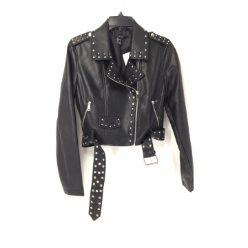 Women's Studded Faux Leather Jacket