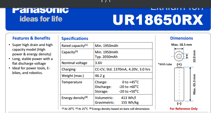 Sanyo 18650 Battery UR RX Speci
