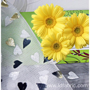 100% Polyester Heart Pattern 30# Mesh Fabric