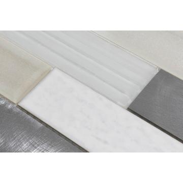 Off-white glass mosaic smooth artistic tiles
