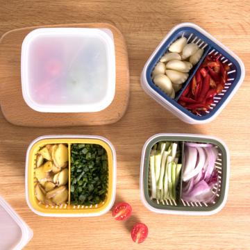 1Pcs New Kitchen Vegetable Fruit Storage Box Food Fresh-keeping Box Draining Onion Ginger Garlic Storage Box Kitchen Accessories