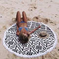 full color printed round beach towels with tassel