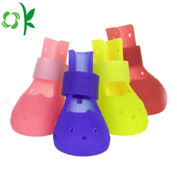 Durable Cute Silicone Waterproof Dog Rainshoes Pet Shoes