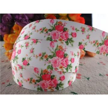 16053048, new arrival 1'' 25mm 10 yards flowers printed grosgrain ribbons cartoon ribbon handmade hair bows