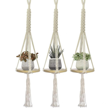 Hanging Round Shelf Planter Holder 3 Sets Mini Floating Circular Shelves Handcrafted Wood with Rope and Hanger