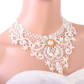 White Fabric Choker Necklace Pearl Cheap Choker Necklaces