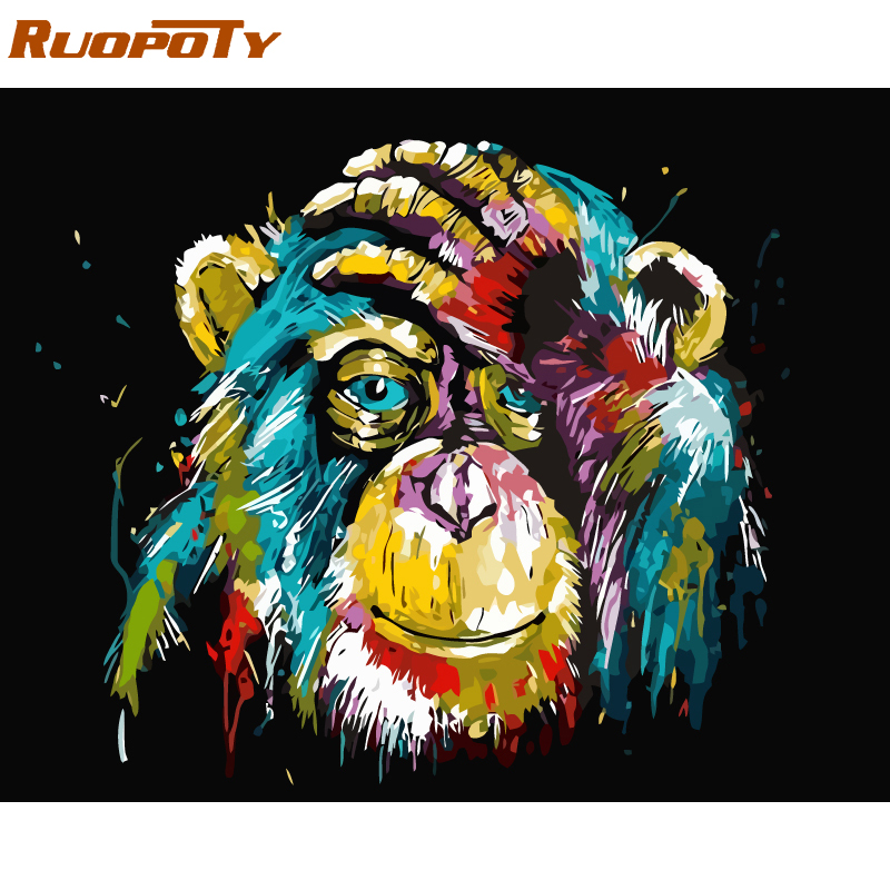 RUOPOTY Frame Orangutan Animals DIY Oil Painting By Number Calligraphy Painting Acrylic Paint On Canvas For Home Decor 40x50cm