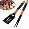 2pcs ABS wood handle stainless steel bbq tools