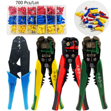Multitool crimping pliers terminal set, full/Pre-insulating jointcrimp sleeves electrical terminals for cable 0.5-6mm2 AWG22-10